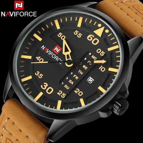 ساعة رجالية جلد ماركة Naviforce 9074 مضادة للماء متوفرة بلونين مختلفين