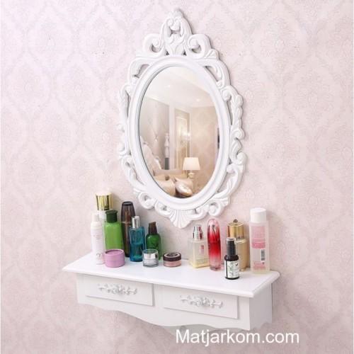 مرآة بيضاء مزخرفة مع رف وجوارير موديل 865-20