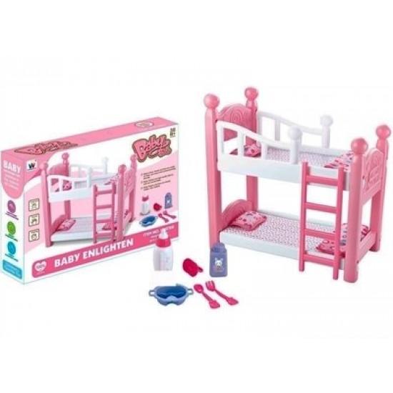 سرير للدمى من طابقين مع ملحقات للعب للاطفال