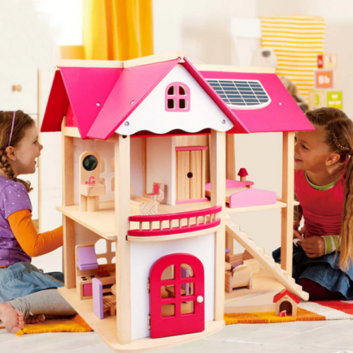 منزل باربي الخشبي باللون الزهري للاطفال