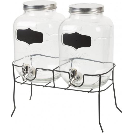وعاء زجاج مزدوج للعصائر مع ستاند معدني