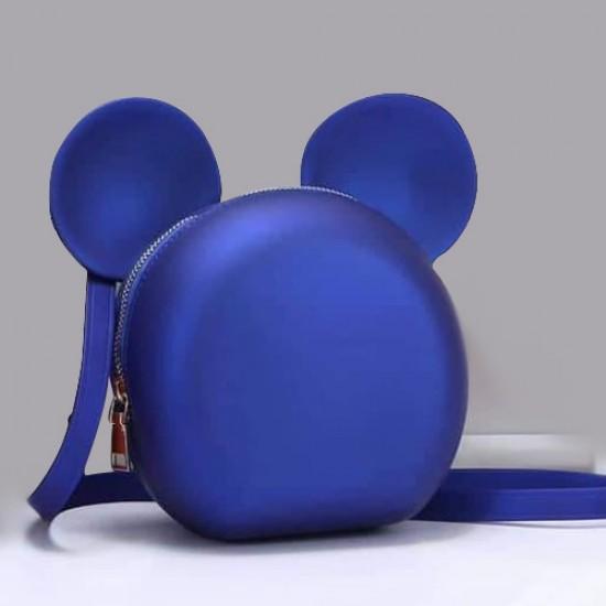 شنطة كتف نسائية دائرية مصنوعة من الجلد شكل ميكي ماوس موديل HB02