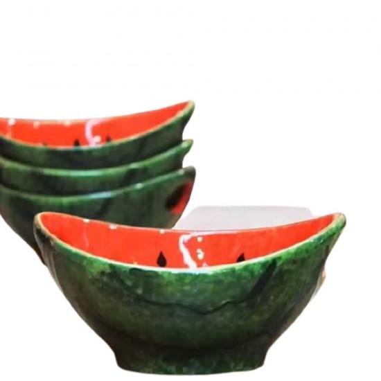 طقم صحون للبطيخ بمكان لليدين لحمله مكون من 6 قطع