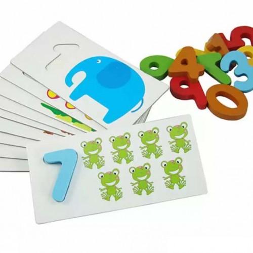 لعبة التركيب التعليمية للأطفال لوضع الأرقام في المكان المناسب من خلال ربط الأرقام بالصور والأعداد