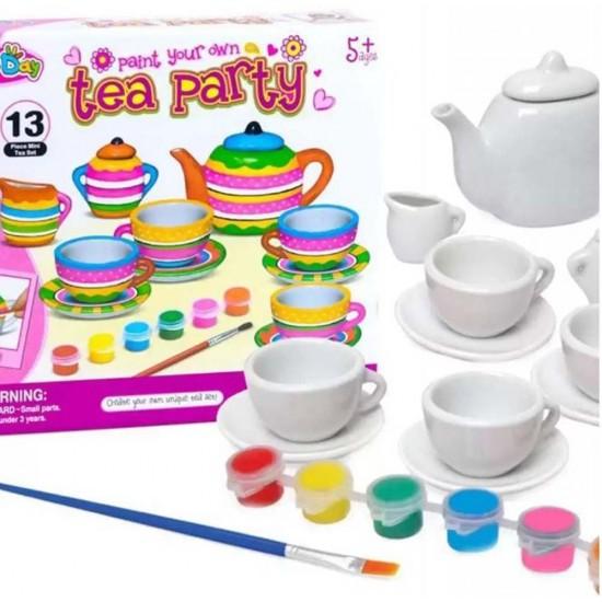 لعبة تلوين طقم الشاى للاطفال مع الالوان حجم كبير