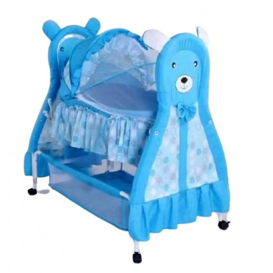سرير أطفال مع ناموسية وعجلات