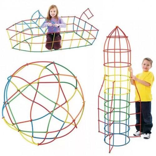 لعبة التركيب باستخدام المصاص تحتوي على 100 قطعة للأطفال
