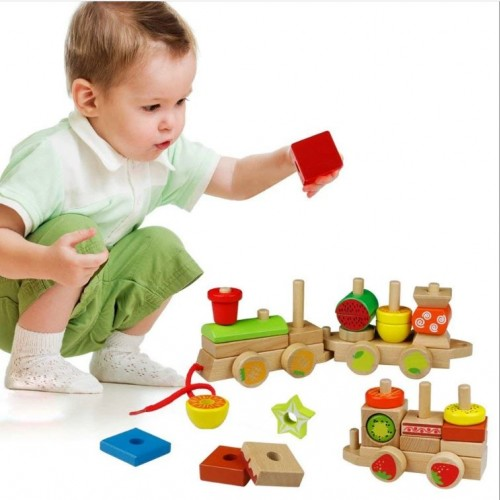 لعبة تركيب القطار الخشبي التعليمي للأطفال مكونة من 30 قطعة