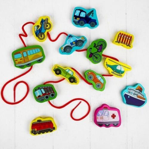 لعبة توصيل السيارات الخشبية باستخدام الحبل للأطفال بعمر يزيد عن 3 سنوات