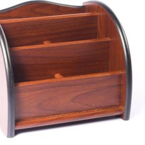 منظم مكتبي متعدد الاستخدامات مصنوع من الخشب