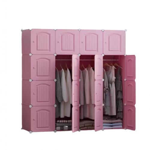 خزانة ملابس بلاستيكية كبيرة مع مكان لتعليق الملابس تحتوي على 16 دفة موديل 852-2