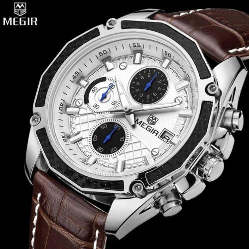 ساعة رجالية جلد فاخرة باللون البني ماركة MEGIR