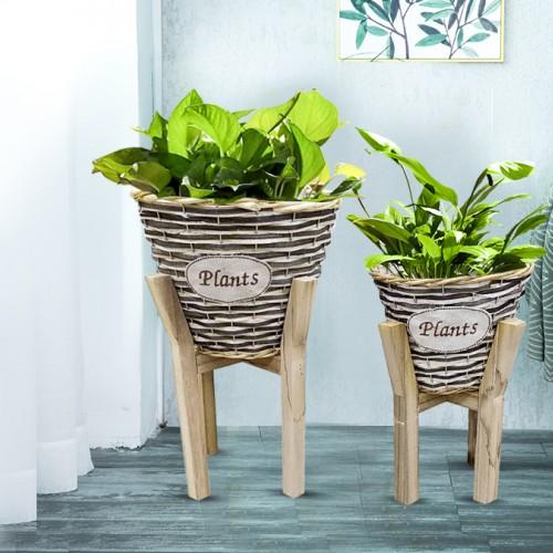 وعائين للنباتات بارجل خشبية موديل A036
