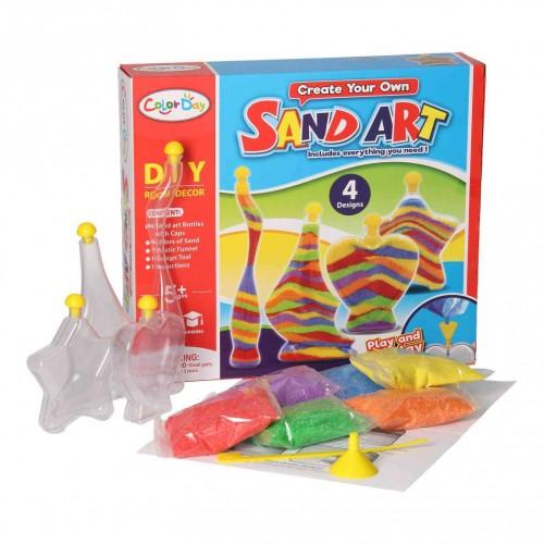 لعبة تشكيل الرمل الملون مع الزجاجات