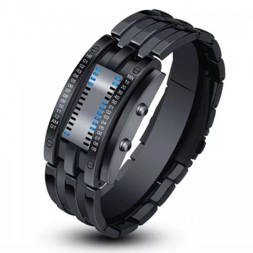 ساعة رجالية رقمية مع شكل اسوارة باللون الاسود