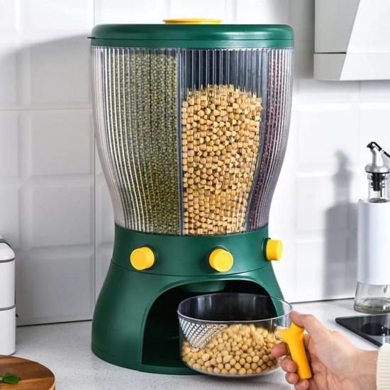 وعاء لحفظ الحبوب والبقوليات حجم كبير يحتوي على 4 اماكن يمكن دورانه