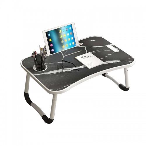 طاولة قابلة للطي مع مكان لوضع التابلت والكاس