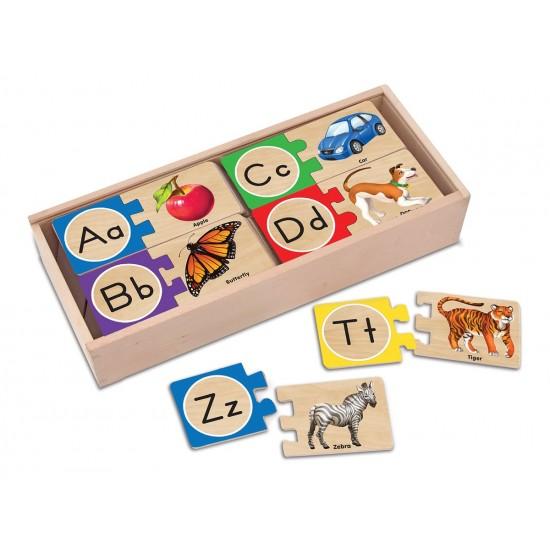 صندوق بطاقات بازل للأطفال لتعليم الحروف العربية والانجليزية