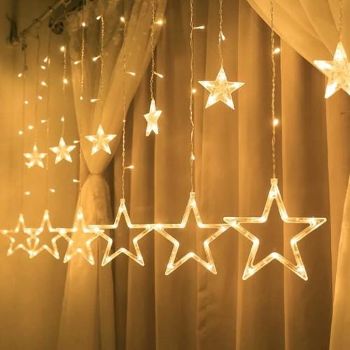 شلال اضاءة رمضانية على شكل نجوم يعمل على الكهرباء