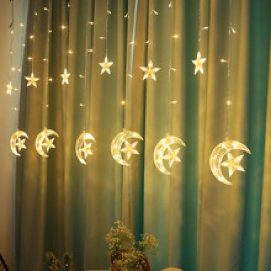 شلال اضاءة على شكل هلال ونجمة يعمل على الكهرباء