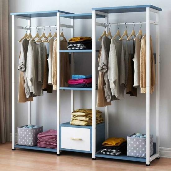 خزانة مميزة  لتعليق الملابس مع رفوف في الوسط باللون الازرق BD-5