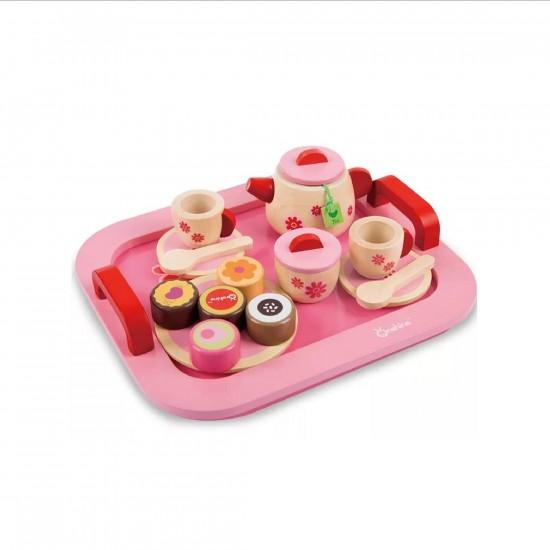 لعبة أدوات الشاي مصنوعة من الخشب