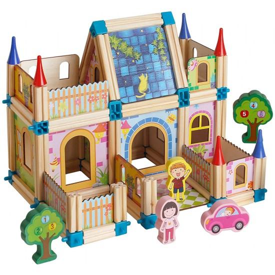 ليجو خشب للاطفال مكون من  128 قطعة