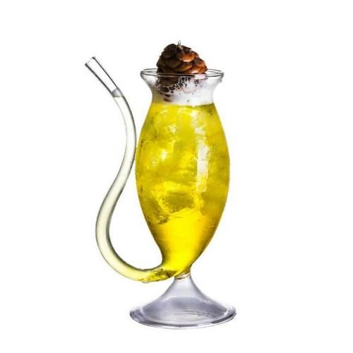 كاسة زجاج للعصير مع شفاطة بالحجم الكبير