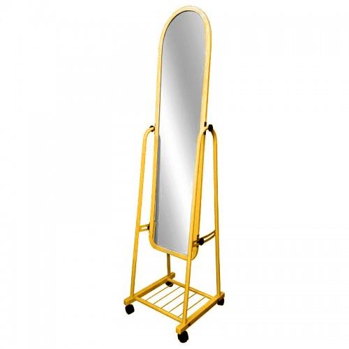 مرآة طولية مع قاعدة بعجلات باللون الذهبي