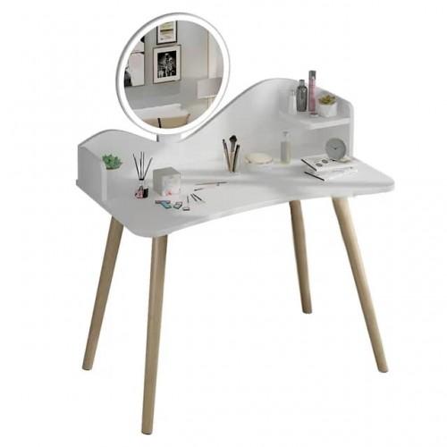 طاولة تسريحة خشبية باللون الابيض مع مرآة دائرية ودرج جانبي zd-5