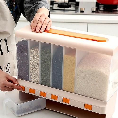 وعاء لحفظ الحبوب والبقوليات حجم كبير يحتوي على 6 اماكن