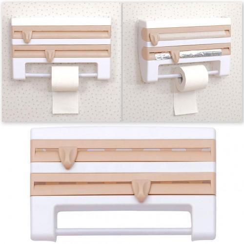 المنظم الثلاثي لتنظيم وترتيب ادوات التغليف في المطبخ