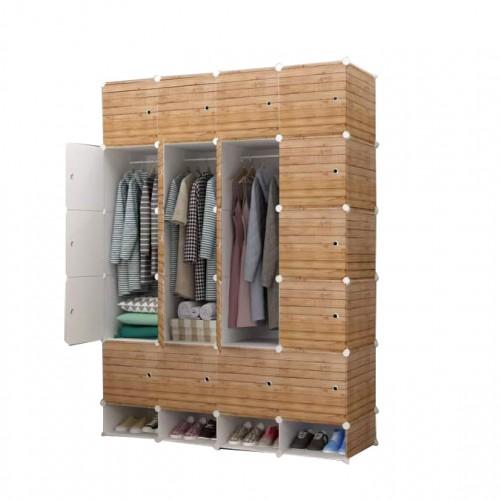 خزانة ملابس بلاستيكية تحتوي على رفوف وعلاقات للملابس