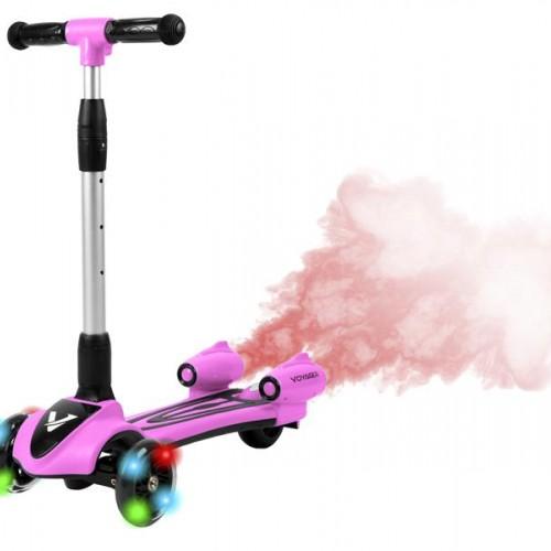 سكوتر بثلاث عجلات للأطفال مع اضاءة وتصدر دخان وبعدة الوان