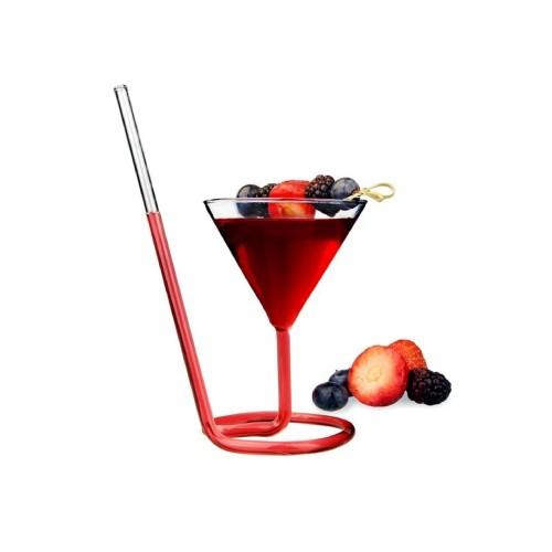 كاسة زجاجية للعصير مع شفاطة بتصميم عصري