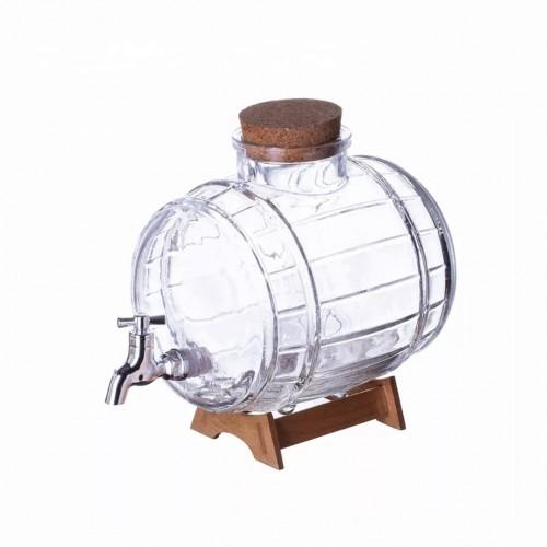 خزان زجاج مع حنفية للمشروبات بسعة 1 لتر