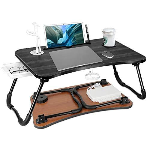 طاولة لابتوب تحتوي على مداخل usb وكشاف ومروحة وجرار