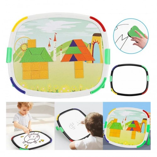 لوح الأشكال التعليمي المغناطيسي مع لوح للكتابة او الرسم 2*1 للأطفال