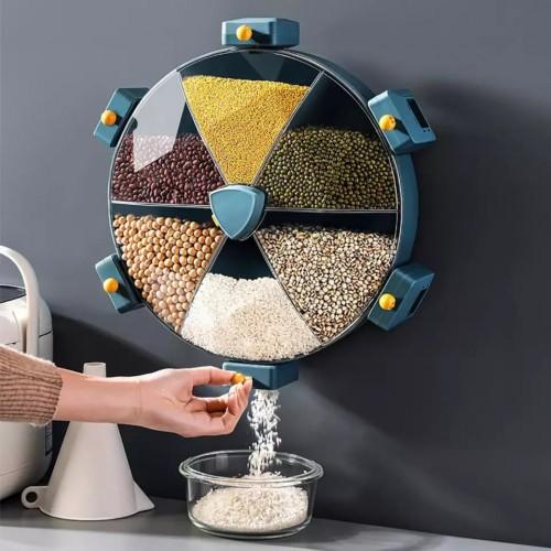 وعاء دائري لحفظ الحبوب والبقوليات يمكن دورانه