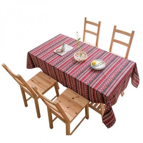 شرشف طاولة سفرة بالنقشة المميزة قطن 100% بالحجم الكبير