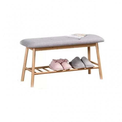 مقعد خشبي مع رف سفلي لتنظيم الأحذية