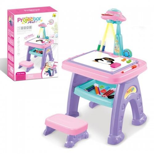 بروجكتر رسم للأطفال و طاولة تعليمية 2*1 مع كرسي للاطفال