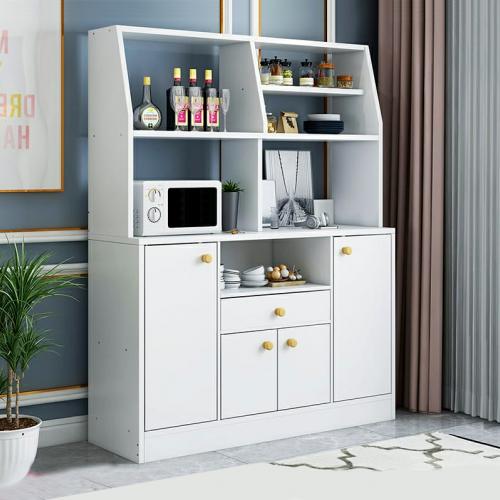 خزانة ورفوف للمطبخ باللون الابيض مصنوعة من الخشب وتتسع للكثير من اغراض المطبخ موديل 333-22