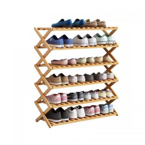 رفوف خشبية تحتوي على 6 رفوف باللون الخشبي الفاتح موديل 333-29