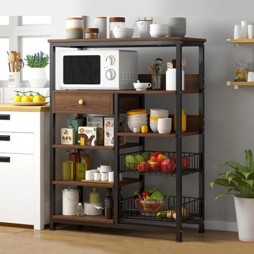 خزانة مطبخ تحتوي على رفوف وسلات ومكان للميكرويف موديل BD-2-20