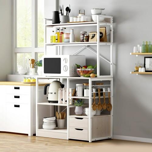 خزانة مطبخ بيضاء كبيرة تحتوي على رفوف وجوارير لتنظيم اغراض المطبخ موديل 333-9