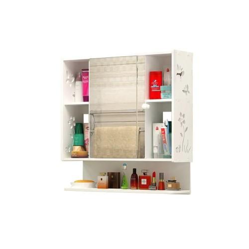 خزانة حمام تحتوي على باب على شكل مراة ورفوف جانبية موديل 3333-16