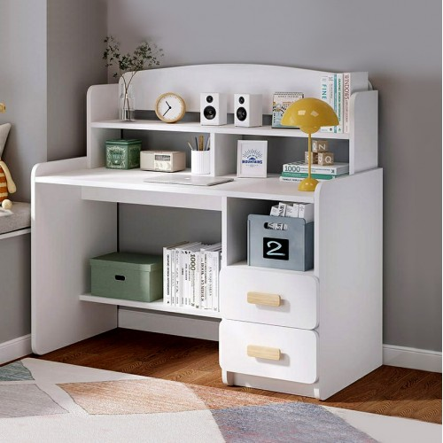 مكتب خشبي ابيض يحتوي على درجين ورفوف لتنظيم الاغراض المكتبية موديل 333-24