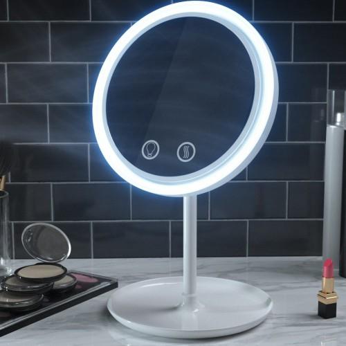 مرآة للمكياج مع اضاءة ومروحة