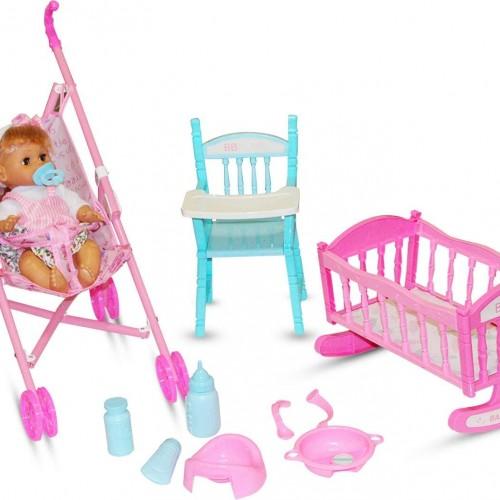لعبة الدمية مع سرير وعربة وعدة أدوات للاطفال